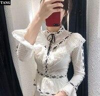 Tang 2019 новые модные женские белые рубашки Длинные рукава летучая мышь шифоновые блузки весна осень кружева элегантный вязаный Топ
