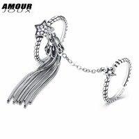 AMOURJOUX 925 Gümüş Yüzük Kadınlar Için Bells Püskül Ortak Yıldız Açık Halka Vintage Stil Takı Parti İyi Hediye Toptan