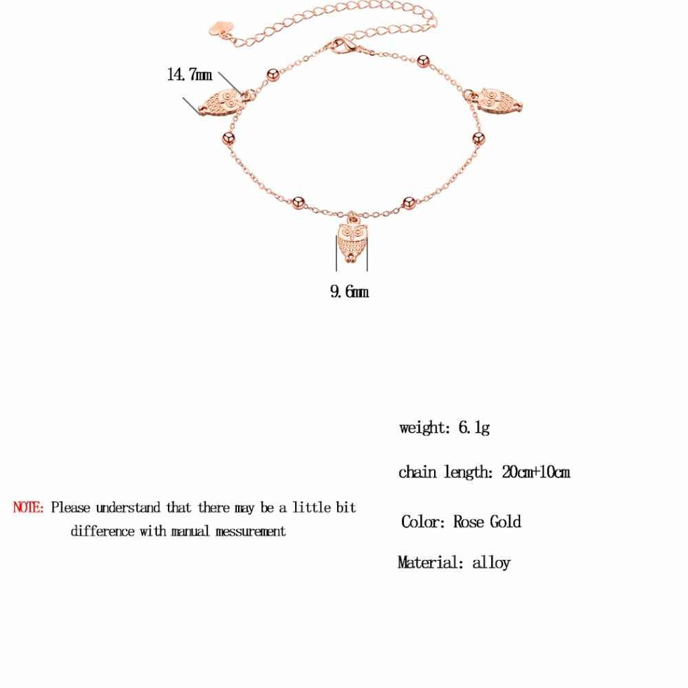 Modny urok sowa wisiorek bransoletka na kostkę na nogę dla kobiet moda różowe złoto plaża stóp kostki bransoletki biżuteria