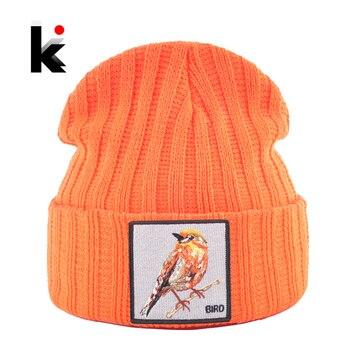 Hip Hop Skullies Beanie Men Women New Fashion Knitted Hats With Bird Patch Winter Warm Ski Cap Boys Girls Streetwear Kpop Bonnet 1