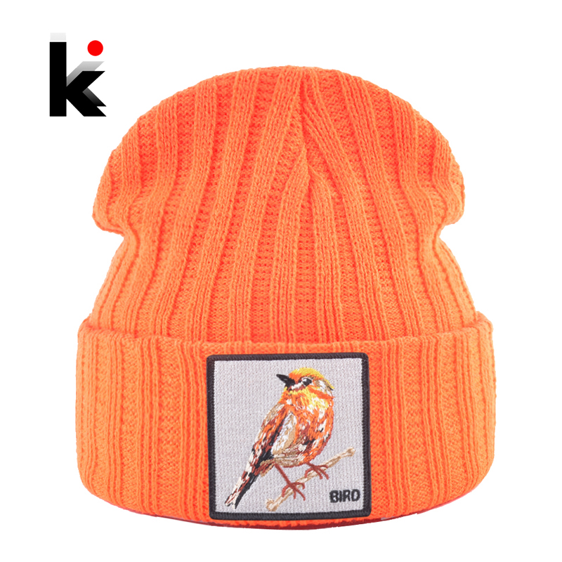 Hip Hop Skullies Beanie Men Women New Fashion Knitted Hats With Bird Patch Winter Warm Ski Cap Boys Girls Streetwear Kpop Bonnet