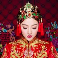 Chinese Ancient Bridal Hair Ornaments Jewelry Wedding Hair Styling Accessories Hairpins Coronet Tiara Handmade Bairwear Handmade