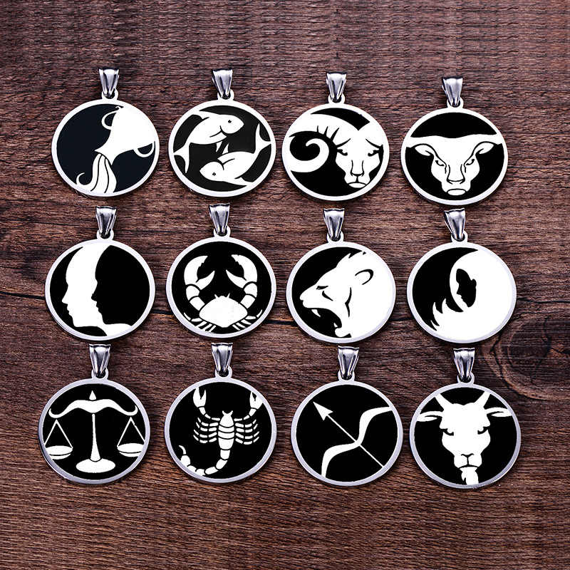 12 Constellations Necklaces Stainless steel Aries Taurus Gemini Cancer Leo Virgo Libra Scorpio Pisces Aquarius Pendants Women