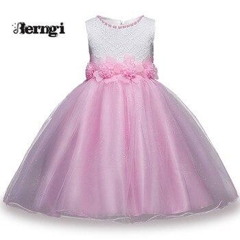 9df039f95964 Nueva Marca blanco y rosa sin mangas Patchwork niños niña fiesta vestidos  princesa flor chica vestido para 3-8 años