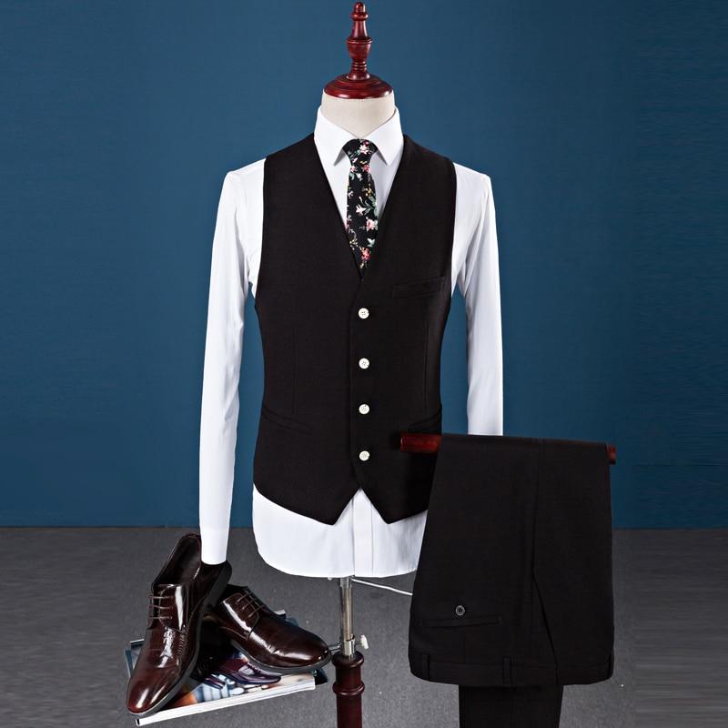 D'affaires Hommes Nouveau Qualité Mariage De Style veste Veste Haute Costumes Costume Pantalon bleu Robe Loisirs rouge 2017 Noir Laine Gilet X8t1qP