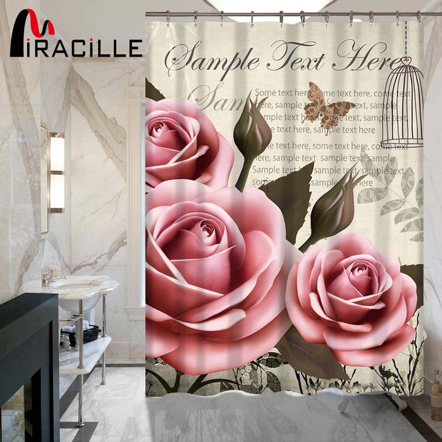 Miracille Vintage Printed Rose Flowers Butterfly Eiffel Tower Polyester Shower  Curtain Waterproof Home Bathroom 3D Shower