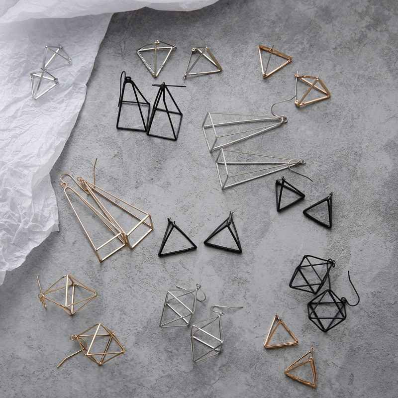 Eropa 2019 Simple Hollow 3D Segitiga Polygon Geometris Drop Anting-Anting Set untuk Wanita Pesta Pesona Punk Perhiasan Pendientes