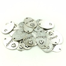20Pcs Antique Silver Tone Oval always love Heart Charms Pendants Jewelry Making 24x18mm