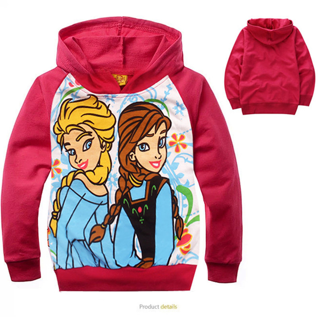 New Winter Children Snow Queen Girls Hoodies Girl Anna Elsa Jackets Kids Long Sleeve Cartoon Coats Elsa Princess Flower Clothes