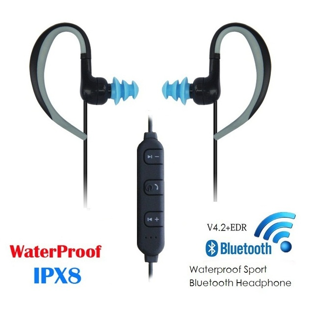 new styles 2ae45 c8a8a US $21.28 30% OFF|BY.ideal IPX8 Waterproof Bluetooth Earphone Swimming  Running Earphones Bluetooth 4.2 USB 2.0 60 mAh Portable Earphones 2018-in  ...