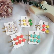 1 Pair New Spring Korea Simple Morandi Round Geometry Colorful Drop Glaze Hairpins Sweet Girl Women Fashion Hair Accessories