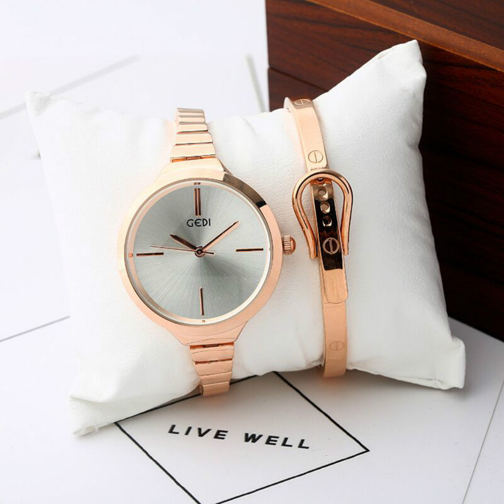 ФОТО 2017 Fashion Brand GEDI Luxury Quartz-watch Ladies Watch women Rose Gold Bracelet Water proof Watches with gift box