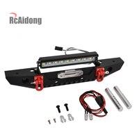 RcAidong 1/10 Rc Car Metal Front Bumper & LED Light for Traxxas TRX 4 TRX4 Axial Scx10 Scx10 ll D90 D110 1/10 RC Crawler Car