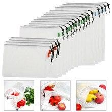 18 шт. многоразовые овощные Фрукты сетка сумка для хранения на кухне Экологичные сумки для хранения моющиеся косметичка для покупок