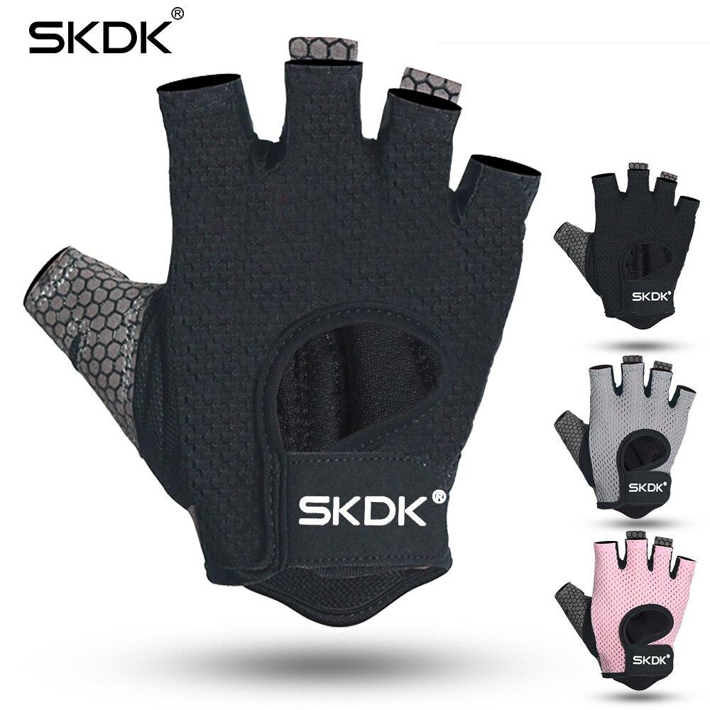 SKDK Half finger Elastic Fitness Gym Gloves Silicone Anti-slip Breathable BodyBuilding Workout Crossfit Gloves Guantes Gimnasio racmmer cycling gloves guantes ciclismo non slip breathable mens