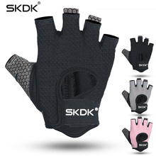 6abaabe05 SKDK Half finger Elastic Fitness Gym Gloves Silicone Anti-slip Breathable BodyBuilding  Workout Crossfit Gloves