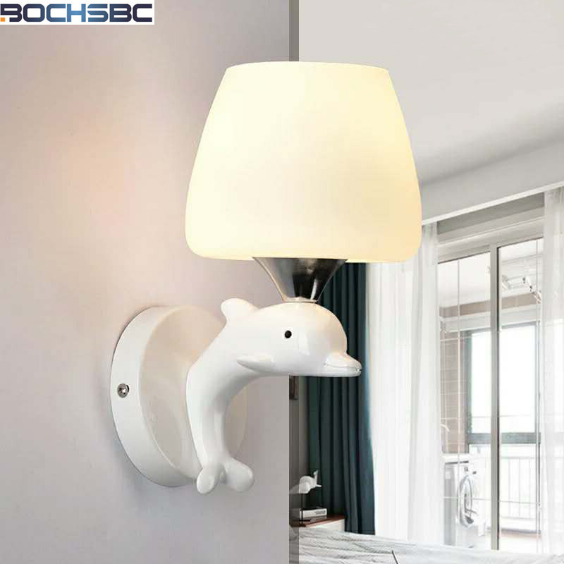 Whale Wall Lamps Modern Minimalist LED Bedside Light Bedroom Creative Living Room Stairs Aisle Light Hotel Whale Sconces modern minimalist 9w led acrylic circular wall lights white living room bedroom bedside aisle creative ceiling lamp