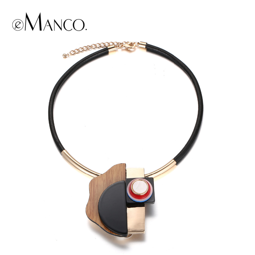 Hyperbole Acrylic Plank Collar Necklaces for Women Resin Wood Leather Cord Necklace Fashion Jewelry NL14984-1