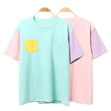 Kawaii tee harajuku patchwork t shirts tops ladies short sleeve style
