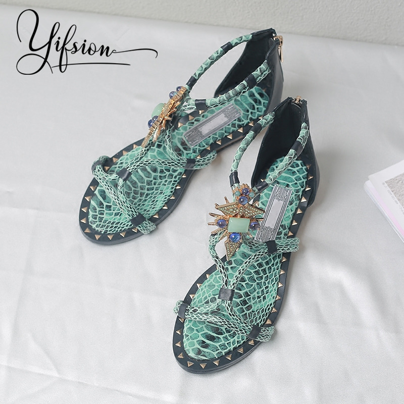 YIFSION New Black White Genuine Leather Women Summer Sandals Open Toe Crystal Back Zip Flat Beach Sandals Shoes Woman