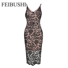 FEIBUSHI Sexy Black Lace Party Dress Women Vintage Sleeveless Embroidery Casual Lace Party Evening Plus size Pencil Dress
