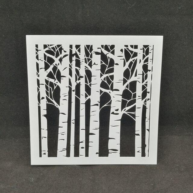 Hutan Pohon Penyemprotan Stensil Stensil Menggambar Warna Layering