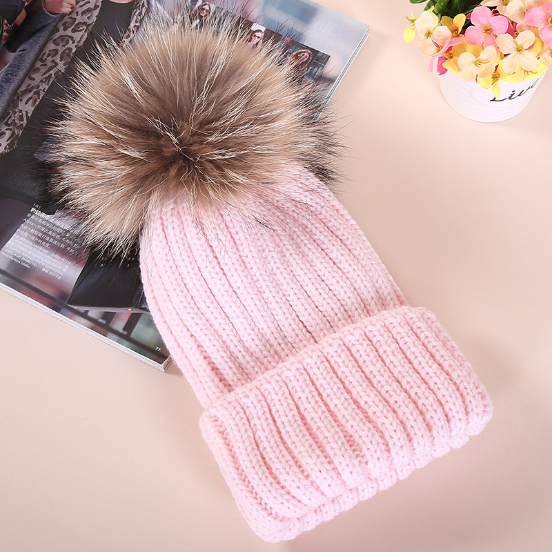 Winter hat female knitting wool raccoon fur ball cap in autumn and Winter girls hats for women bonnet femme pompom gorro 2017 new fashion autumn and winter wool leaves hollow out knitting hat thick female cap hats for girls women s hats female cap