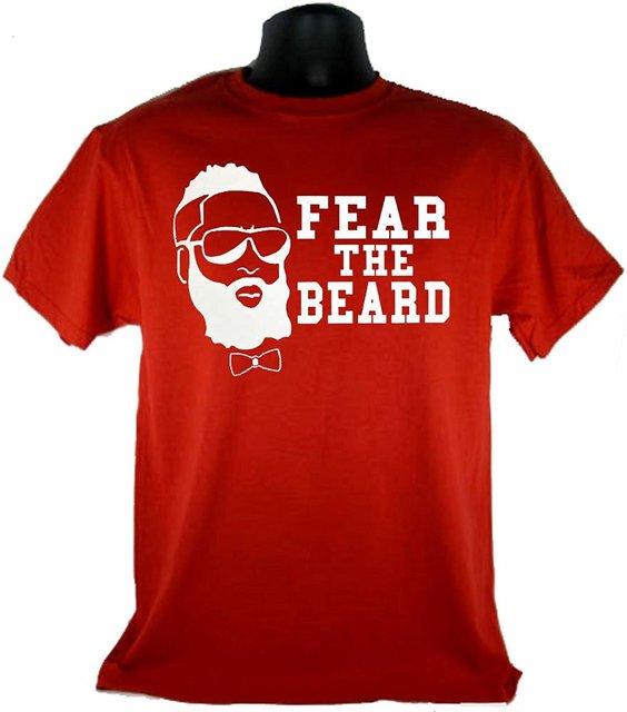 e200ad78688b OKOUFEN 2017 Fashion Fear the Beard Harden Basketballer Houston Red T-Shirt  Tee