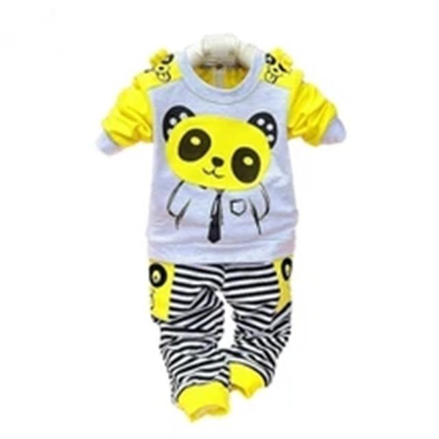 2016 Primavera bebê define conjunto de veludo twinset Panda dos desenhos animados manga longa com capuz + calça crianças conjunto de roupas meninas meninos roupas
