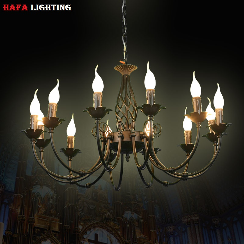European chandeliers wrought iron complex classical bedroom lighting fixture lamp minimalist 110-240V Black / white / Bronze wrought iron chandelier island country vintage style chandeliers flush mount painting lighting fixture lamp empress chandeliers