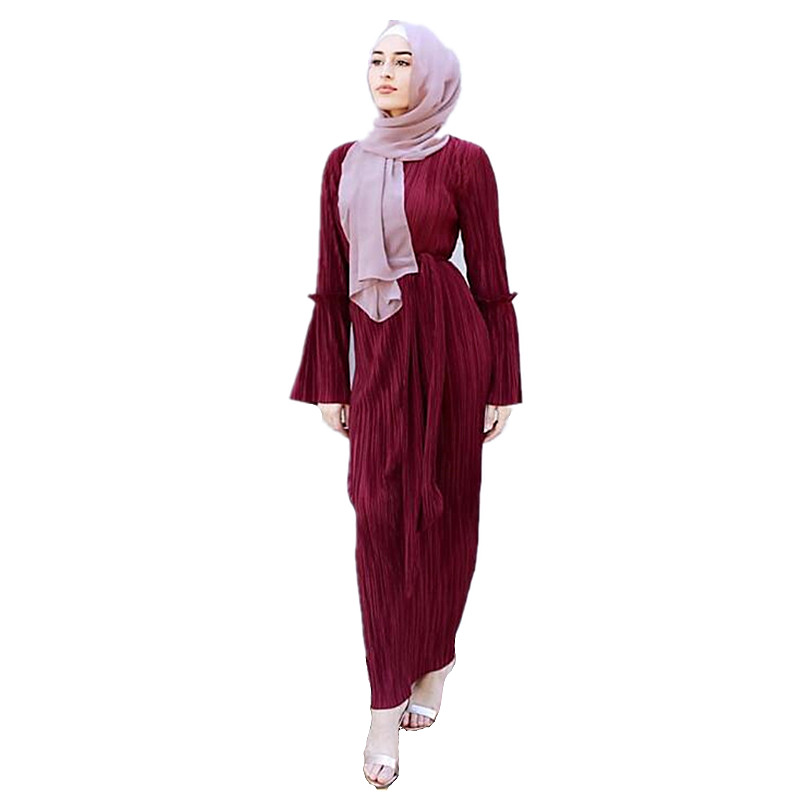 Women's Muslim Hijab Pleated Dress Arab Women Loose Sashes Folding Abayas Arabic Dubai Turkish Kaftan Female Clothing