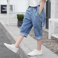 Baby Boy Pants 2019 New Summer Solid Mid Denim Shorts 3 14 Years Old Children Korean Fashion Blue Elastic Waist Suspender Pants