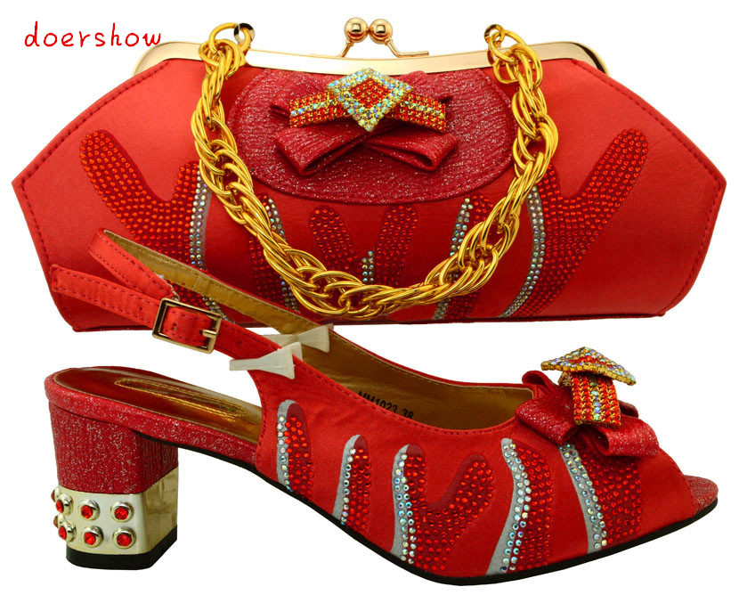 doershow Latest African Shoes And Bag Set For Party Italian Fashion Women Sandal With Matching Bags Set With Rhinestones PUW1-24 bugatti пиджак