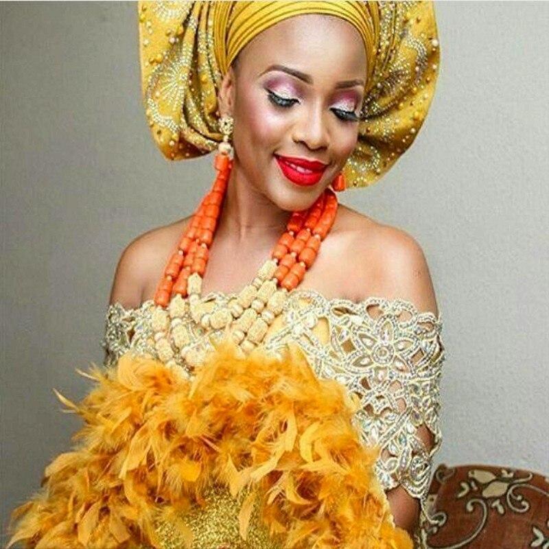 Ensembles de bijoux Dubai nuptiale plaqué or couleur corail perles ensembles de bijoux pour les mariages nigérians 2018 dames ensembles de bijoux livraison gratuite