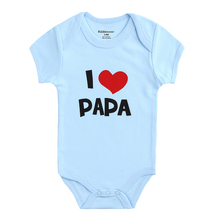 Kiddiezoom Baby Boy Girl Clothes Short Sleeve i Love Papa Pr