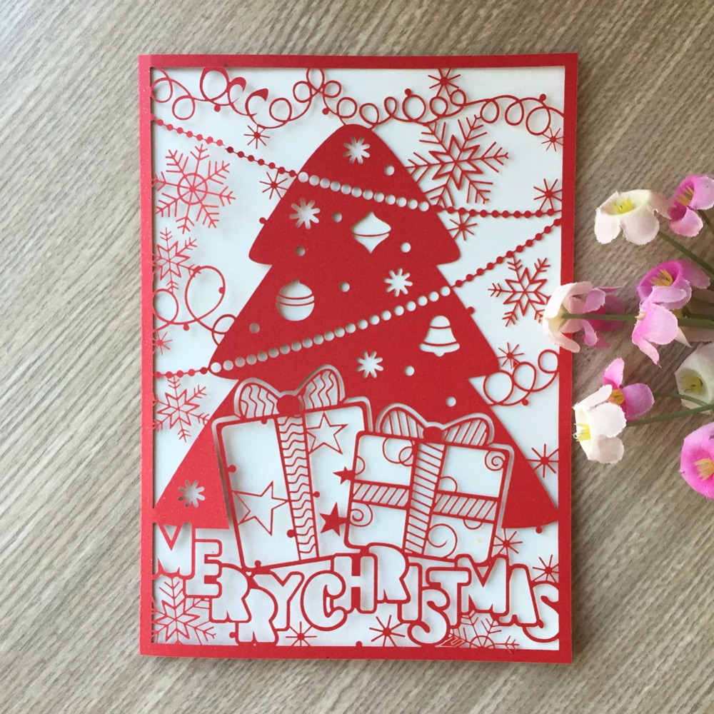 50pcNew Merry Christmas Tree Vintage laser cut chinese red pearl ...