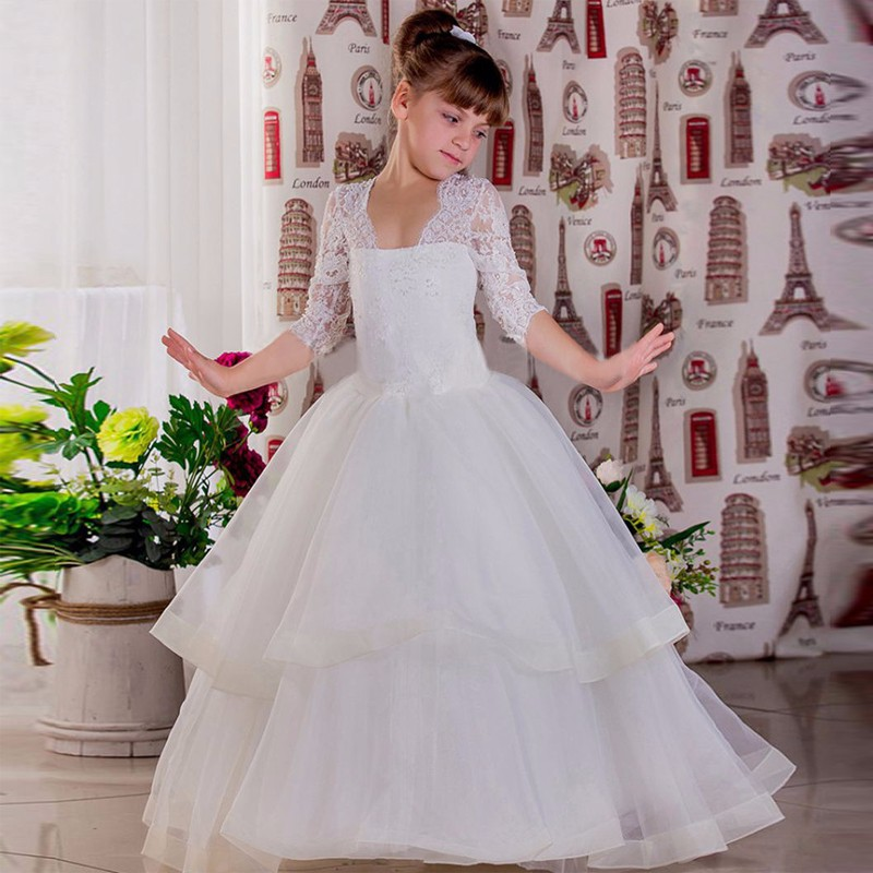 2017 New Flower Girl Dresses Appliques Ball Gown Three Quarter Sleeves Tiered Puffy Custom Made First Communion Pageant Gowns 2017 new flower girl dresses appliques ball gown three quarter sleeves tiered puffy custom made first communion pageant gowns