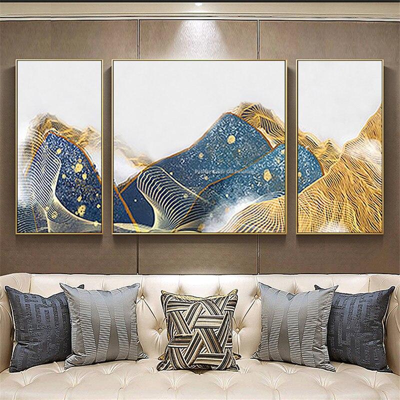 3 предмета в комплекте абстрактный Синий Золотой Горы живопись на холсте акриловой живописи стены искусства фотографии для гостиной quadros