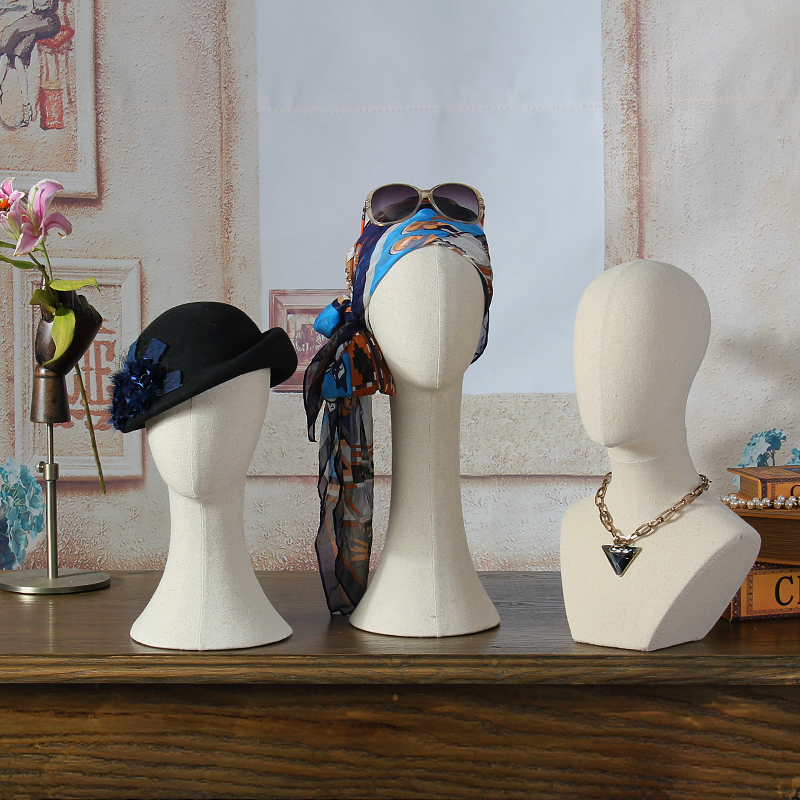 Fashionable Female Fabric Mannequin Head For Hat Scarf Wig