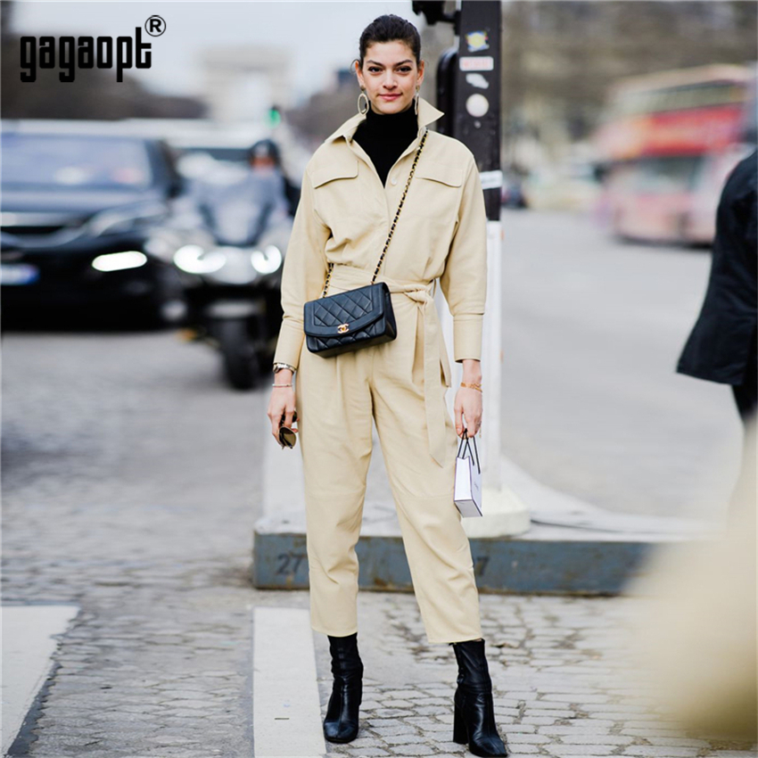 Gagaopt 2018 Winter Jumpsuit Women Overalls High Street Style Vintage Casual Khaki Long Sleeve Jumpsuits Pantalon Femme