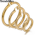 Trendsmax Shiny Cut Womens Girls Round Tube Hoop Earrings Yellow Gold Filled Snap Closure Fastening GEM11