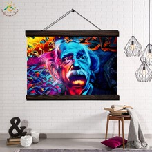 Scientist Einstein Framed Scroll Painting Modern Canvas Art Prints Poster Wall Artwork Pictures Home Decor