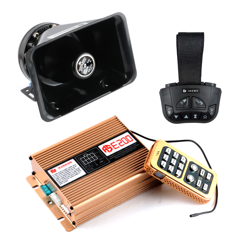 Vehicle 8 Tone Sound Alarm Car Horns 12V 200W Loud Siren Police Firemen Ambulance Warning Emergency Speaker Dual Remote Control