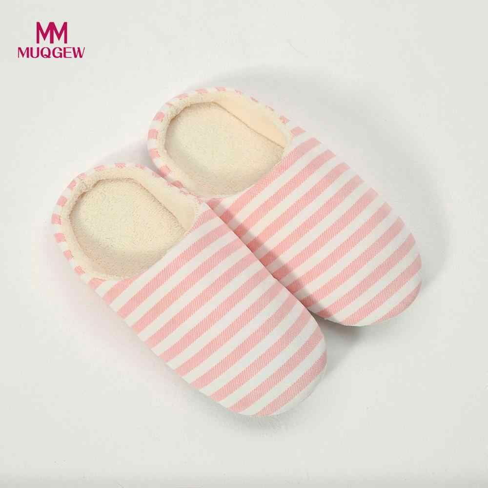 Mulheres Sapatos Chinelo Homens Listrado Quente Chinelo Interior Anti-slip Sapatos Casa Inverno Indoor & Outdoor Slip-on sapatos Quentes planas
