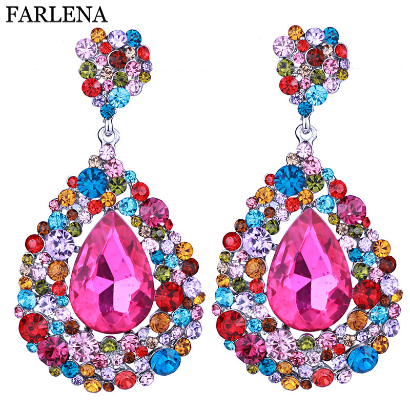 FARLENA 11 Colors Choice Full Crystal Rhinestone Long Drop Dangle Earrings 2018 Party Wedding Крючок Әйелдер үшін Зергерлік Сыйлық