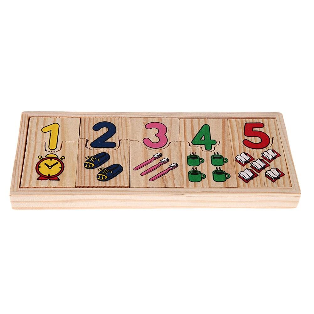 1 компл. деревянный номер счета головоломка игрушка ребенку дошкольного образования обучения математике узор номера, соответствующие голо...