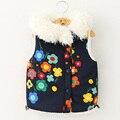 2016 Nuevos niños de invierno ropa de abrigo moda chaleco chaleco de algodón estilo de la flor para las muchachas 2-9 T Espesar kids warm niñas chaleco abrigos