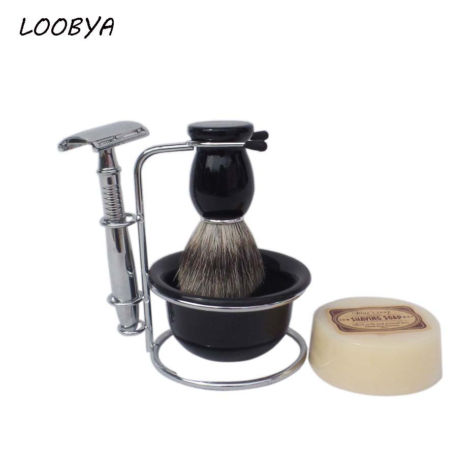 5pc/set Stainless Steel Safety Shaving  Razor with Badger Beard Brush Stand Soap Acrylic Bowl 2pc set stainless steel man shaving safety razor and badger beard shave brush