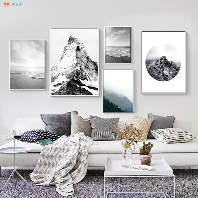 Us 2 96 26 Off Nature Poster Canvas Painting Black And White Wall Art Poster And Print Wall Pictures Office Decor Mountain Beach Canvas Prints In