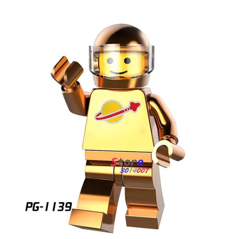 1PCS blocos de construção do modelo de ação super-heróis Homem do Espaço Chrome Ouro Série hobby diy brinquedos para presente de crianças